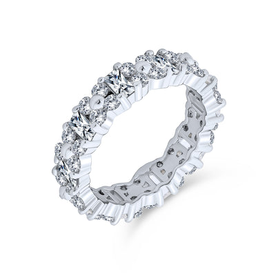 AAA CZ Eternity Alternating Baguette Wedding Band Ring Sterling Silver