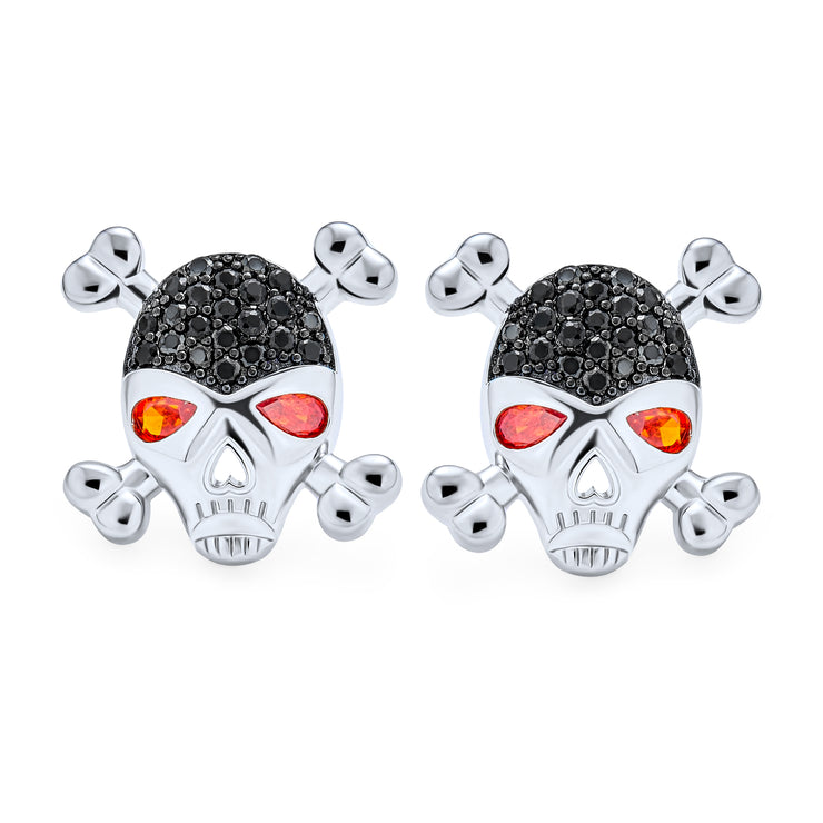 Black CZ Red Eye Caribbean Pirate Skull Stud Earrings Silver Plated