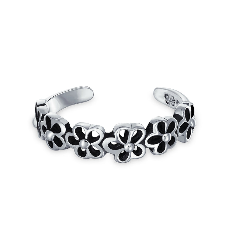 Daisy Flowers Open Cut Out Midi Band Toe Ring 925 Silver Sterling