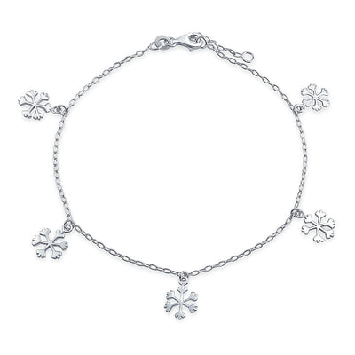 Multi Charm Winter Snowflake Anklet For Teen Link Chain Ankle Bracelet