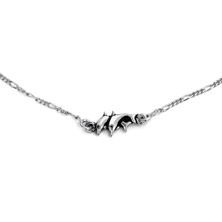 Nautical Dolphin Anklet Figaro Chain Ankle Bracelet Sterling Silver
