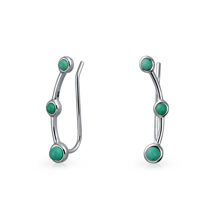 Geometric Blue Turquoise Ear Pin Earrings Crawlers Sterling Silver