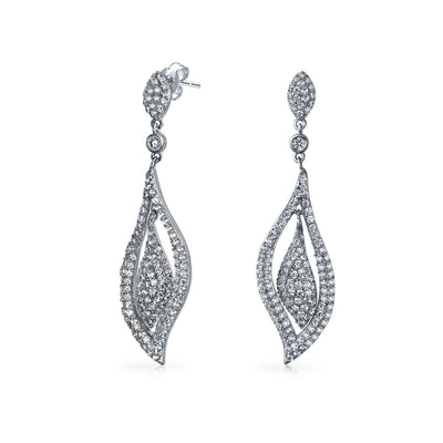 Prom Pageant Leaf CZ Statement Chandelier Earrings Silver Plated