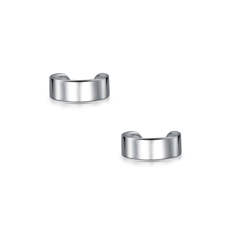Band Cartilage Ear Cuffs Clip Wrap Helix Earrings 925 Sterling Silver