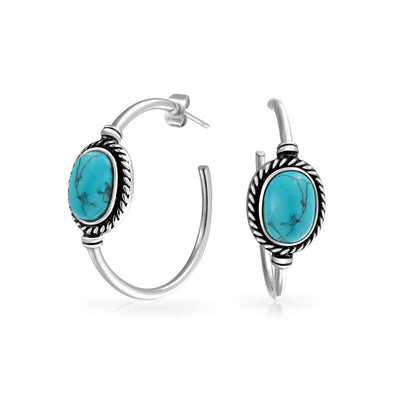 Oval Turquoise Braid Twisted Rope Hoop Stud Earrings Stainless Steel