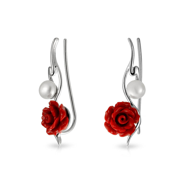 Red Rose Flower Freshwater Pearl Ear Pin Earrings Sterling Silver