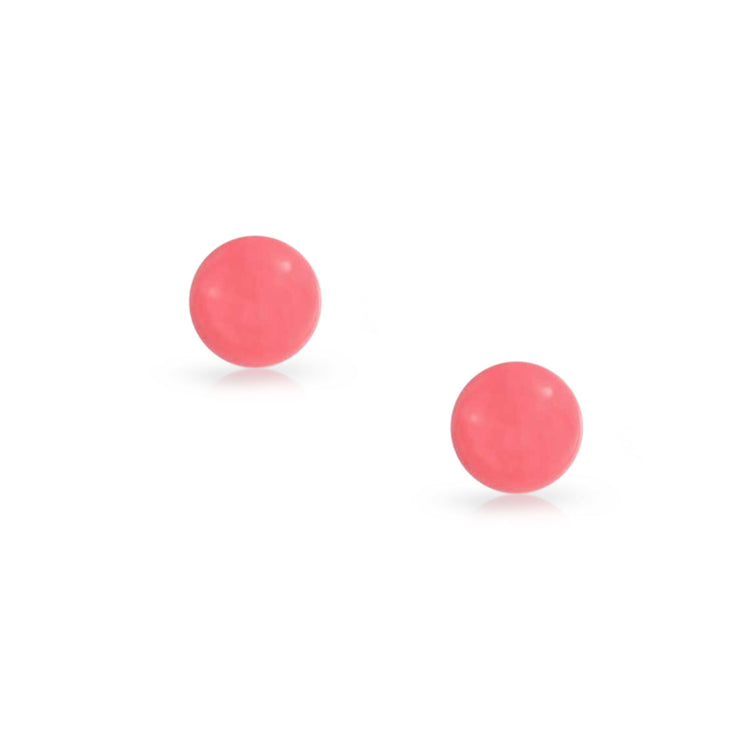 Round Ball Circle Dyed Pink Coral Stud Earrings 925 Sterling Silver