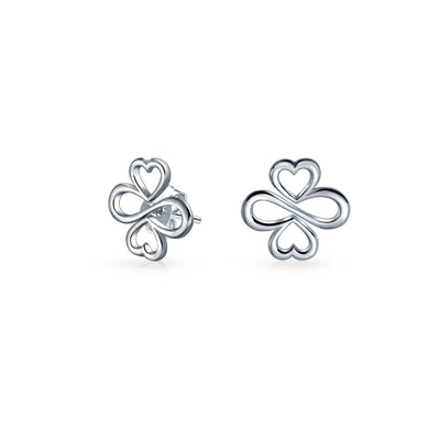 AYLLU Luck Unity Heart Infinity Clover Sterling Silver Stud Earrings