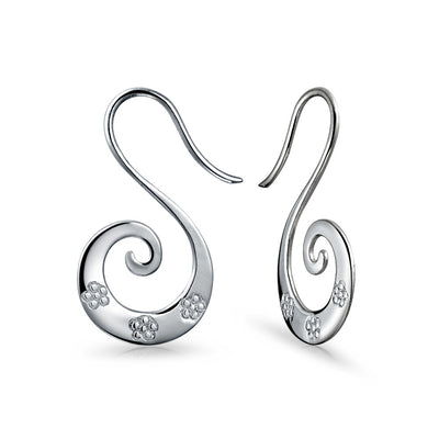 Boho Blossom Wire Spiral Hoop Threader Earrings 925 Sterling Silver