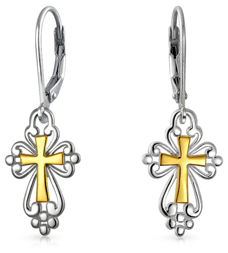 Religious Cross Fleur De Lis Dangle Earrings 14K Gold Plated Silver