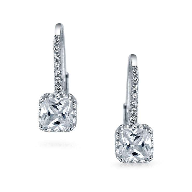 Solitaire Princess Square CZ Drop Earrings 925 Sterling Silver