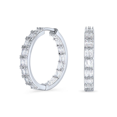 Inside Out  Brilliant Emerald Cut AAA CZ Hoop Earrings Silver Plated