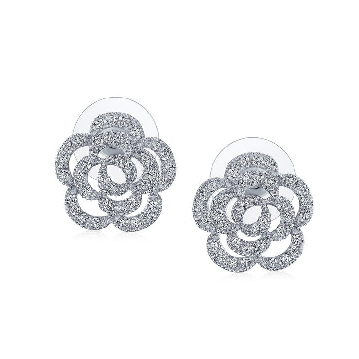 Bridal Pave CZ Accent Open Floral Love Rose Flower Stud Earrings