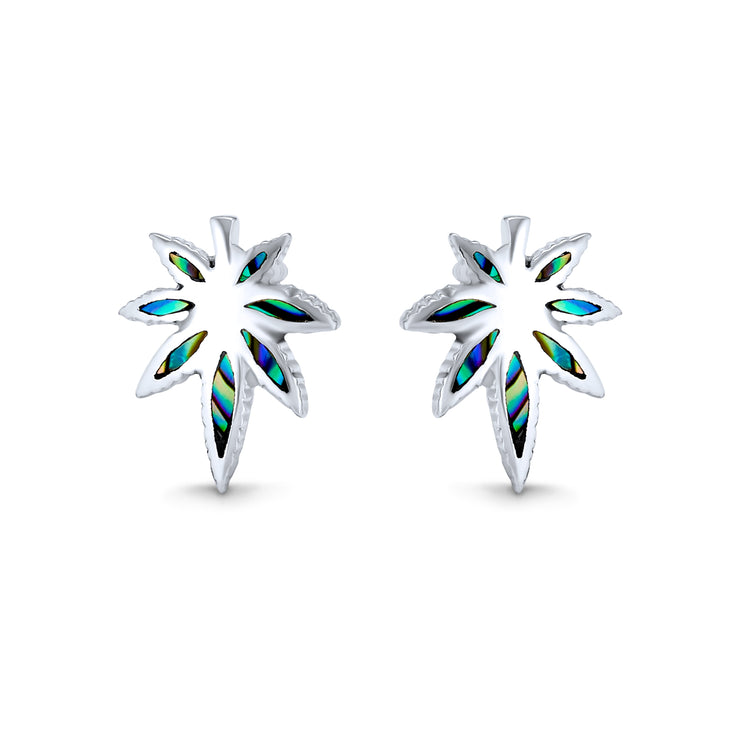 Abalone THC Cannabis Leaf Weed Marijuana Stud Earrings Sterling Silver