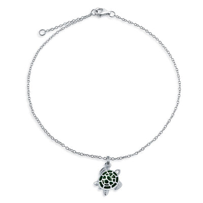 Green Turtle Enamel Nautical Dangle Charm Anklet 925 Sterling Silver