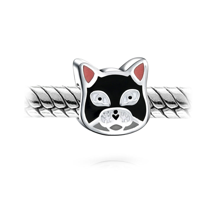 Enamel Black Cat Kitten Face Pet Charm Bead 925 Sterling Silver