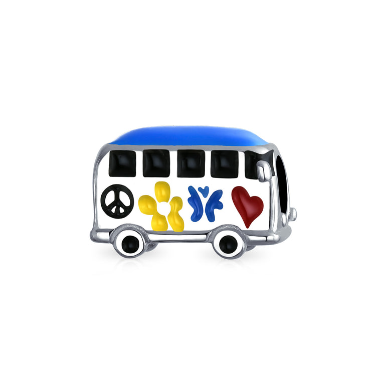 Peace Love Hippie Bus 60'S Multi Color Charm Bead 925 Sterling Silver