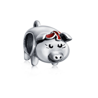 Cute Pig Hog Piggy Bank Animal Pet Charm Bead 925 Sterling Silver