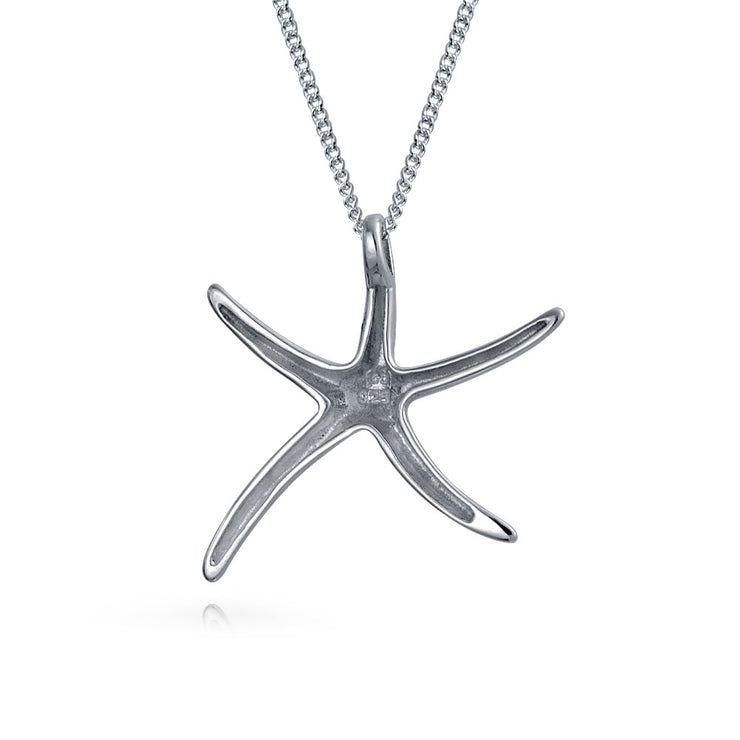 Starfish Nautical Beach Pendant Large Necklace Sterling Silver 16in