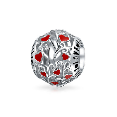 Red Silver Round I Love You Word Heart Charm Bead 925 Sterling Silver