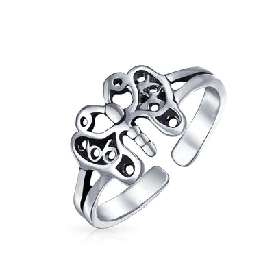 Butterfly Shape Filigree Midi Split Band Toe Ring Silver Sterling