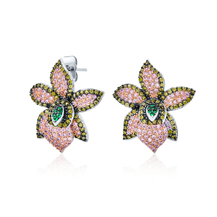 3D Pink Orchid Flower Shaped Pave CZ Stud Earrings Silver Plated