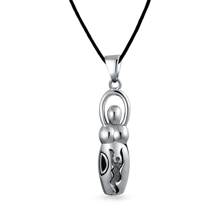 Venus of Willendorf Fertility Pendant Sterling Silver Silk Necklace