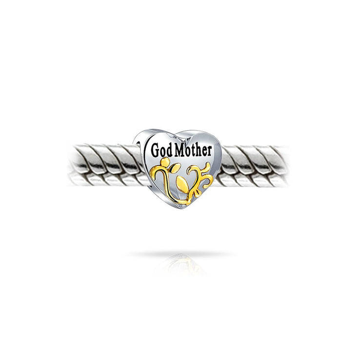 Heart Mother Love Charm Bead 2 Tone 14K Gold Plated Sterling Silver