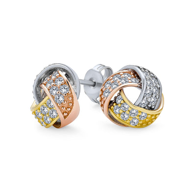 Tri Color Twisted CZ Stud Earrings Rose Gold Plated Sterling Silver