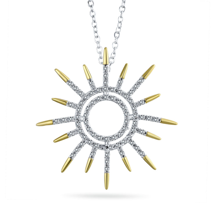 Sunburst Sun Pendant Necklace Pave Cubic Zirconia Gold Plated