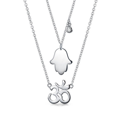 Hamsa H Aum Om Yoga Symbol 2 Layering Pendant Necklace Sterling Silver