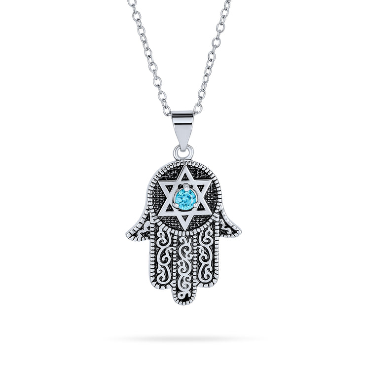 Hamsa Hand OF God Star OF David Pendant Necklace Blue CZ Black Plated