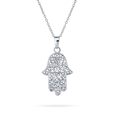 Hamsa Hand OF Fatima Filigree Pendant Necklace CZ 925 Sterling Silver