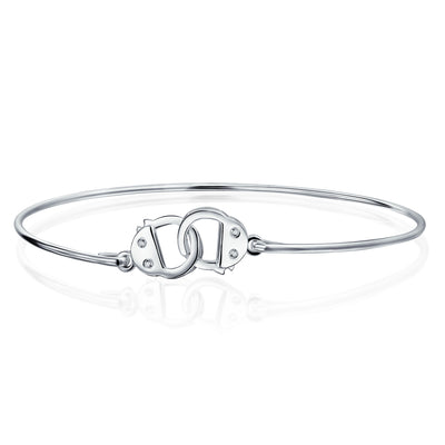 Partner in Crime Handcuff Working Lock Bracelet Bangle Sterling Silver