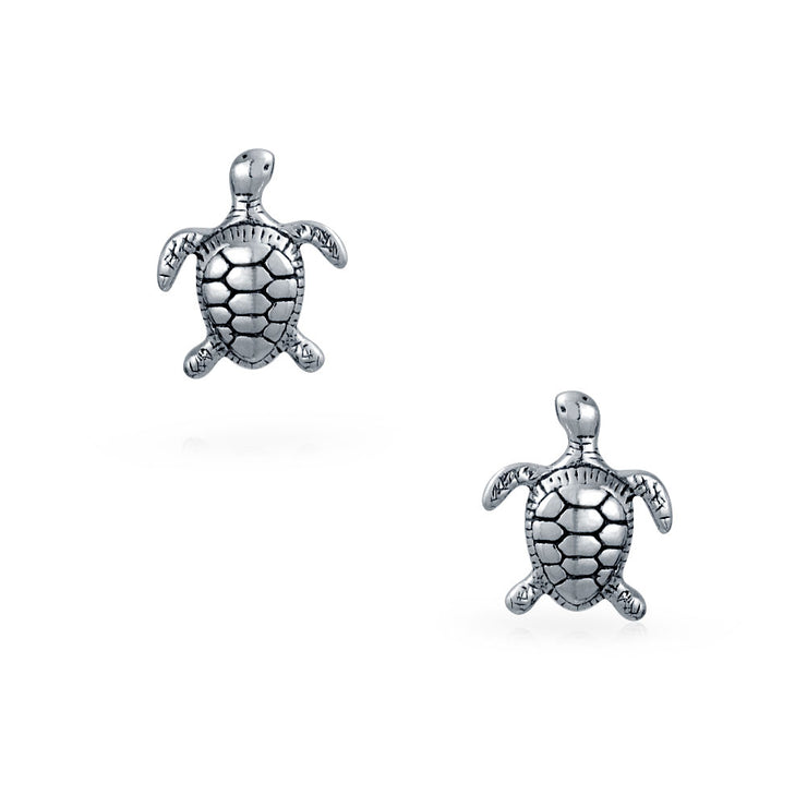 Nautical Hawaiian Tortoise Beach Turtle Stud Earrings Sterling Silver