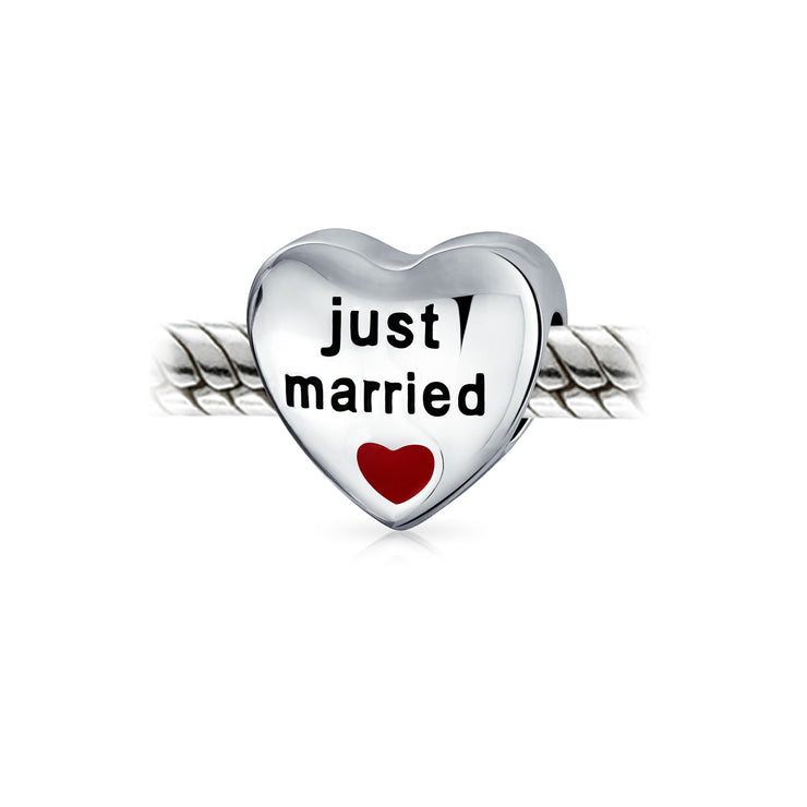 Just Married Newlywed Red Heart Charm Bead 925 Sterling Silver