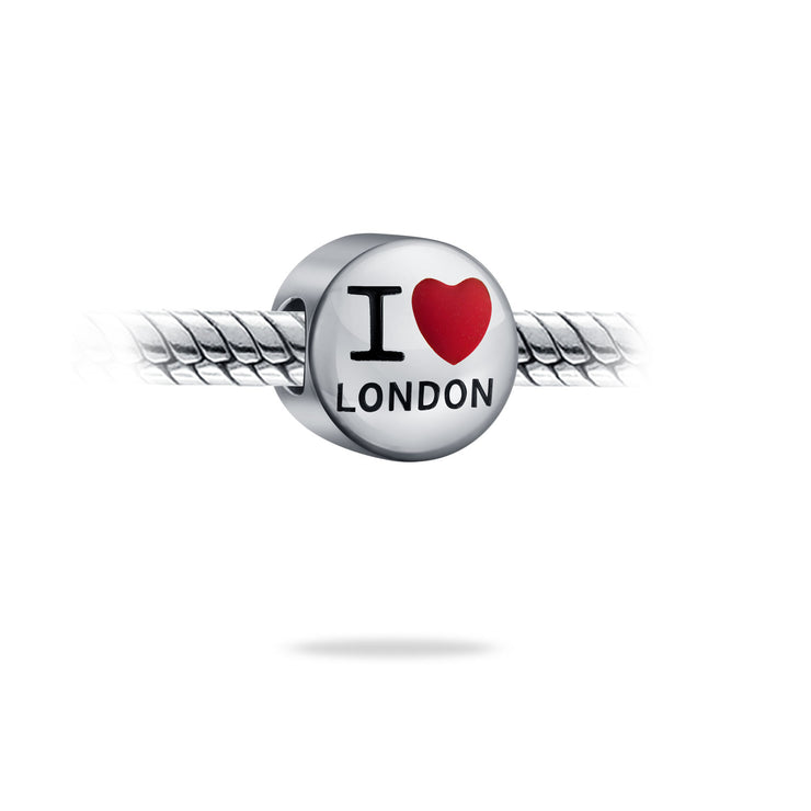 I Love Paris or London Travel World Vacation Charm Bead 925 Sterling Silver