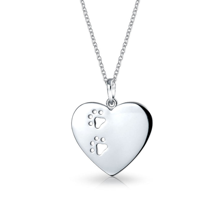 Dog Cat Puppy Paw Print Heart Pendant Necklace 925 Sterling Silver