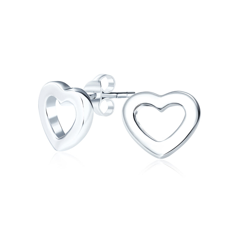 Simple Open Heart Stud Earrings Women Shiny 925 Sterling Silver