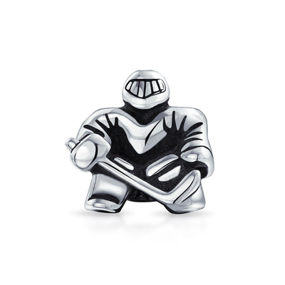 Ice Goalie Sports Team Hockey Player Charm Bead .925 Sterling Silver