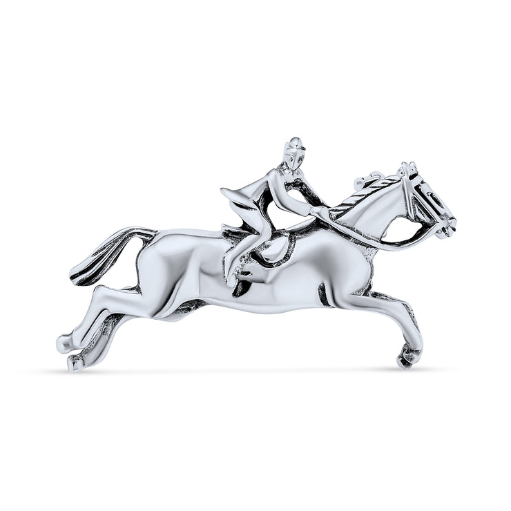 Equestrian Riding Thoroughbred Horses Brooch Pin 925 Sterling Silver