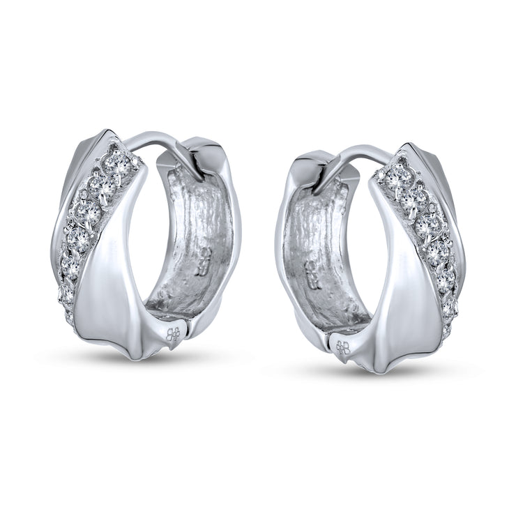 Cubic Zirconia Rope Twist Hoop Earrings Sterling Silver Hinge