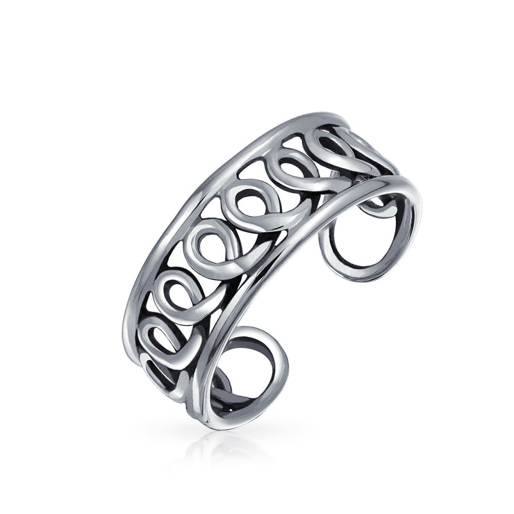 Infinity Swirl Wire Midi Wide Band Toe Ring Silver Sterling Mid Finger