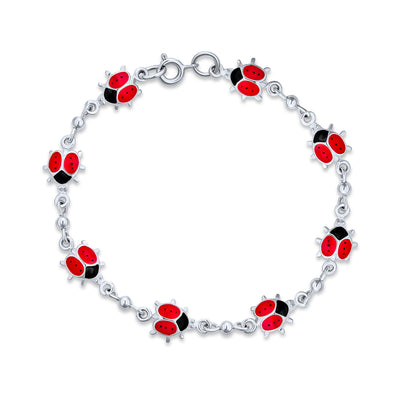 Red Ladybugs Small Enamel Station Charm Bracelet 925 Sterling Silver