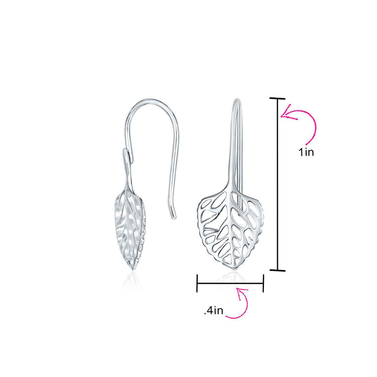 Delicate Tiny Boho Leaf Feather Wire Earrings Filigree Sterling Silver