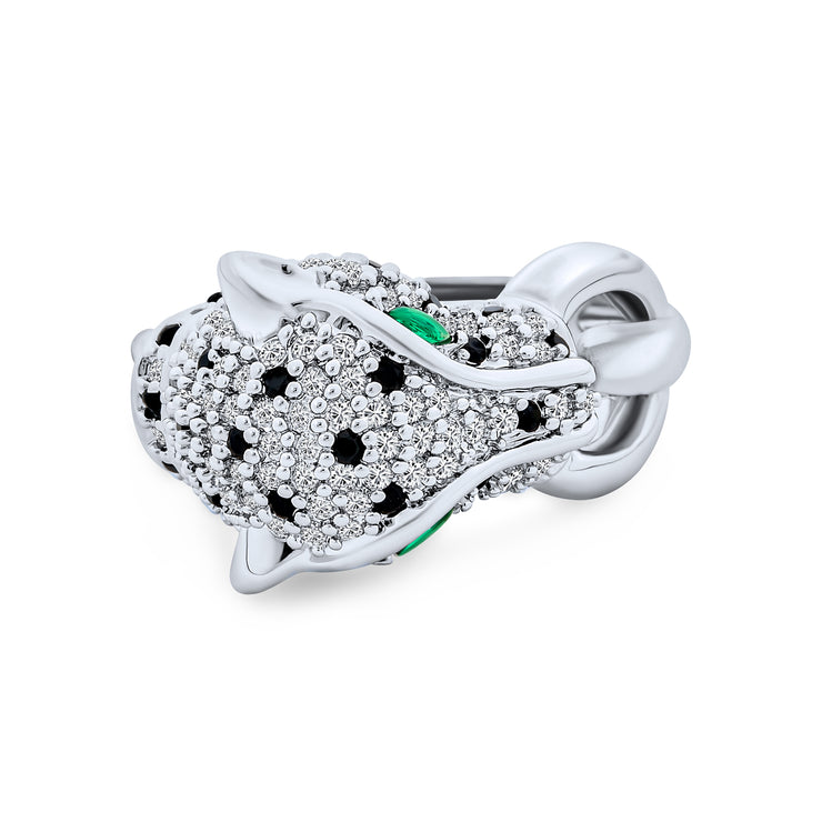 Green Eye Black White CZ Leopard Panther Cat Ring Silver Plated Brass