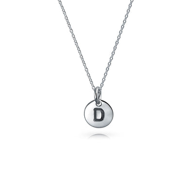 Letter Block Alphabet Initial Disc Pendant Necklace Sterling Silver