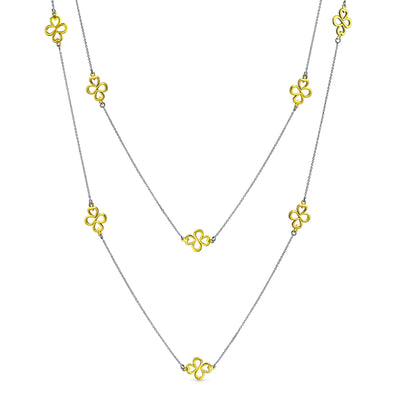 Ayllu Heart Infinity Clover Long Multi Layer Chain Necklace 2 Tone
