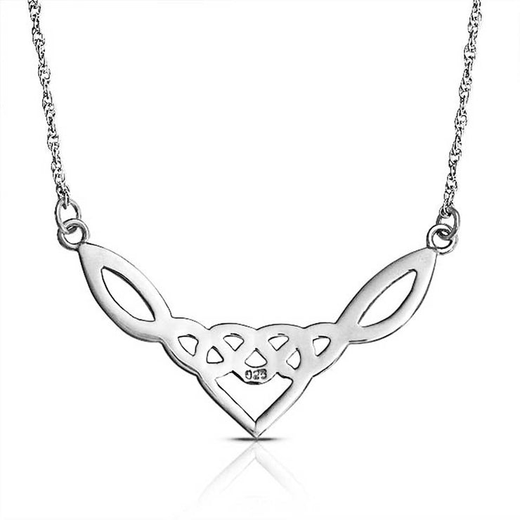 Celtic Love Heart Knot Triquetra Necklace Sterling Silver Pendant