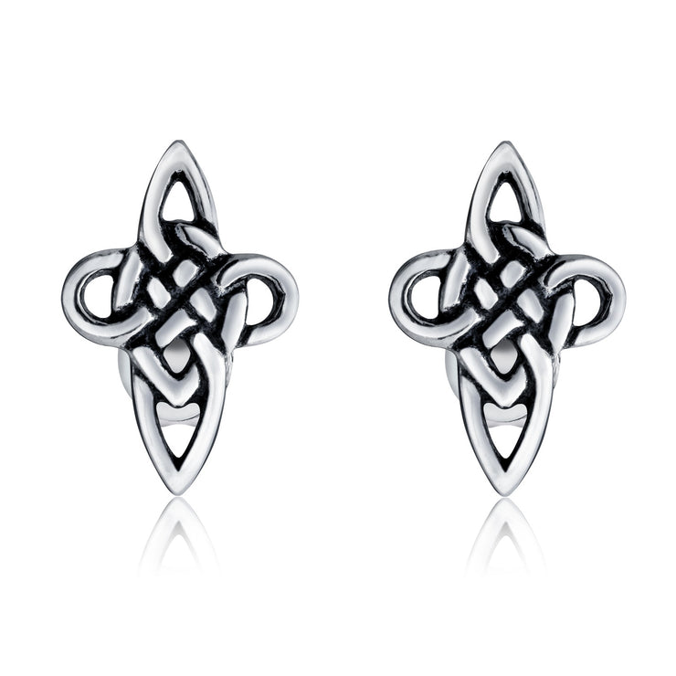 Mens Celtic Cross Knot Small Stud Earrings Oxidized Sterling Silver